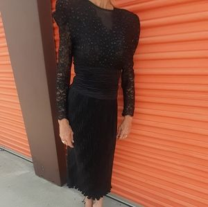 I magnin Maxi lace beaded sequin dress pleat skirt